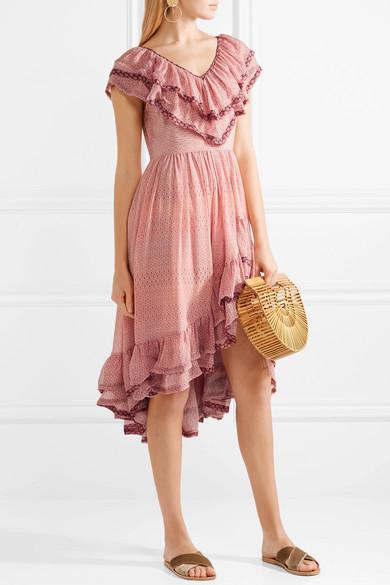 LoveShackFancy Elena Kleid aus bedrucktem Seiden-Georgette mit Rüschen