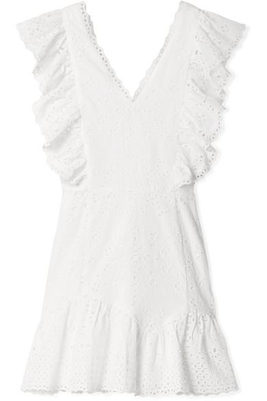 LoveShackFancy Alanis Minikleid aus Baumwolle mit Lochstickerei und Rüschen