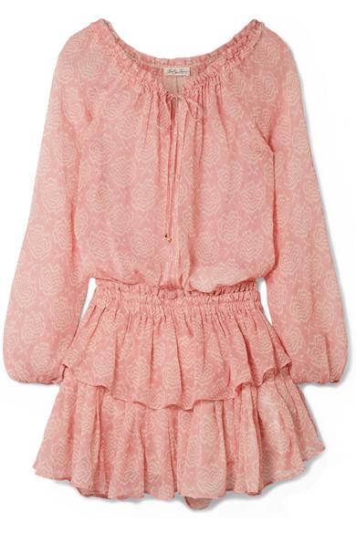 LoveShackFancy Minikleid aus bedrucktem Seiden-Georgette