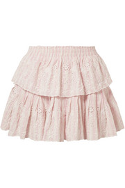 Ruffled striped broderie anglaise cotton mini skirt