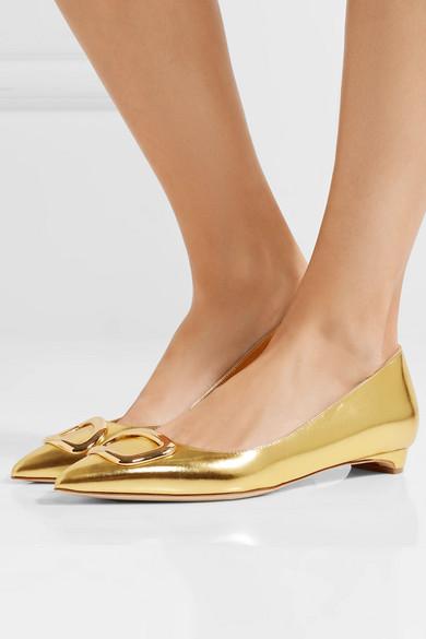Rupert Sanderson Bedfa flache Schuhe mit spitzer Kappe aus Metallic-Leder