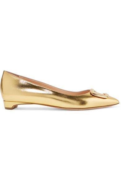 Rupert Sanderson - Bedfa Metallic Leather Point-toe Flats - Gold