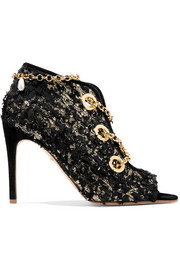 Nightingale chain-embellished frayed metallic suede ankle boots