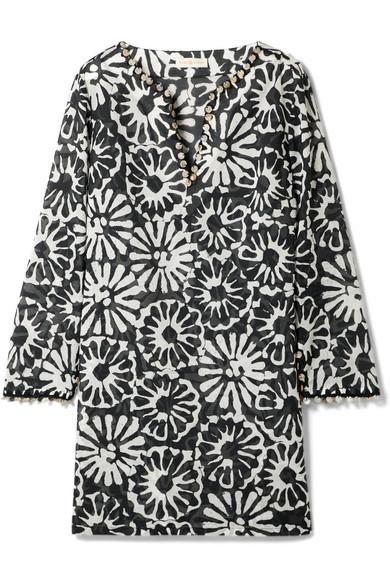 Tory Burch Verzierte Tunika aus bedruckter Baumwolle-Gaze