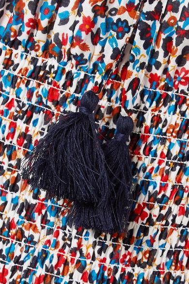 Tory Burch Floral bedrucktes Midikleid aus Baumwolle mit Raffungen