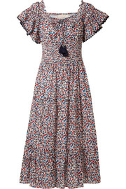 Smocked floral-print cotton midi dress