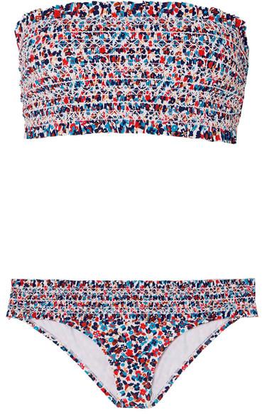 Tory Burch Costa gesmokter Bandeau-Bikini