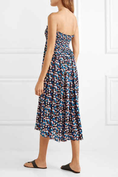 Prism Smocked Printed Voile Midi Dress - Blue Tory Burch IEYfo