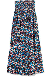 Prism smocked printed voile midi dress