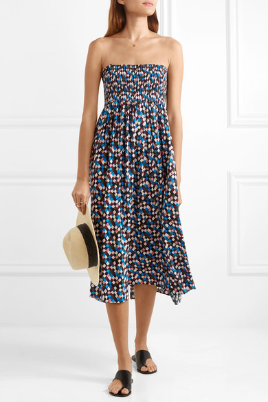 Tory Burch Prism Smocked Midi Dress In Printed Voile