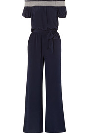 Tory Burch Misty off-the-shoulder shirred silk jumpsuit