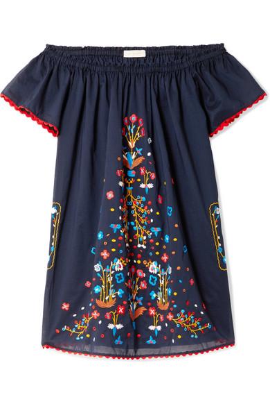 Tory Burch Wildflower schulterfreies Minikleid aus besticktem Baumwoll-Voile