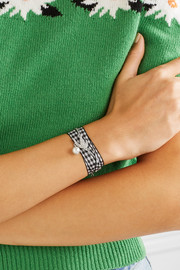 Miu Miu Gingham cotton, silver-tone, Swarovski crystal and faux pearl bracelet
