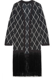 Liliana fringed printed silk crepe de chine robe