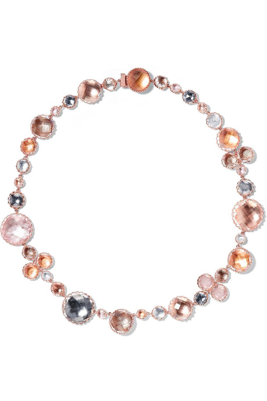 Larkspur & Hawk Sadie Rivière 14-karat rose gold-dipped quartz necklace