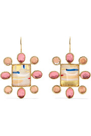 Cora Cushion 14-karat gold quartz earrings