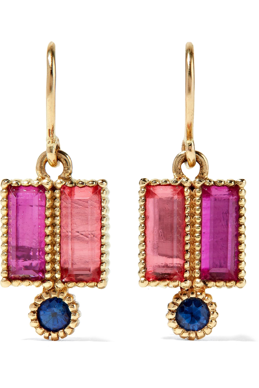 Larkspur & Hawk Boucles d'oreilles en or 14 carats, saphirs et quartz Cora Double