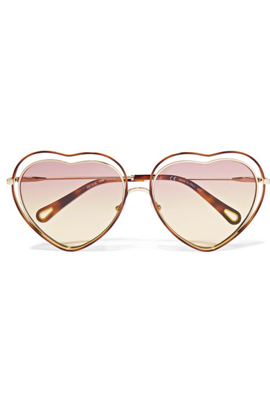 24c9911d7a Chloé. Poppy Love heart-shaped acetate and gold-tone sunglasses