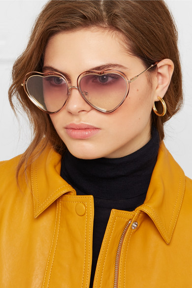 a1920ffb2e Poppy Love heart-shaped acetate and gold-tone sunglasses