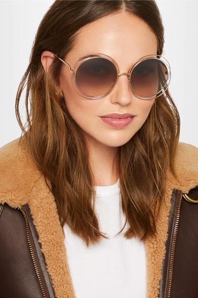Frame Round Rose A ChloéCarlina Gold Tone Porter Sunglasses Net com UzSpMLVqG