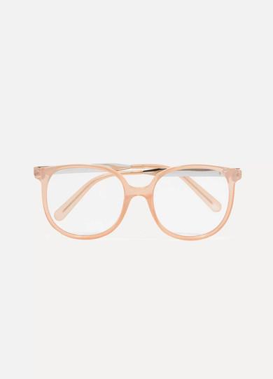 Myrte Square-frame Acetate And Gold-tone Optical Glasses - Peach Chlo AUksKMmvTR