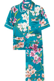 Daria Barbara printed silk-satin pajama set