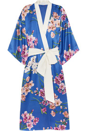 Queenie Briella floral-print silk-satin robe