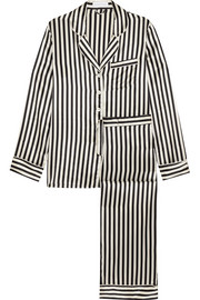 Lila striped silk-satin pajama set