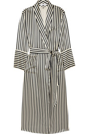 Capability striped silk-satin robe