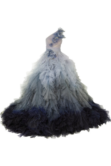 Marchesa Tüllrobe mit asymmetrischer Schulterpartie und Blumenapplikation Räumungsverkauf Online Günstig Kaufen Fabrikverkauf y9G7P