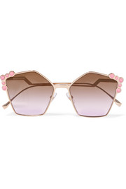 Fendi Studded square-frame rose gold-tone sunglasses