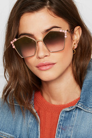 Studded square-frame rose gold-tone sunglasses