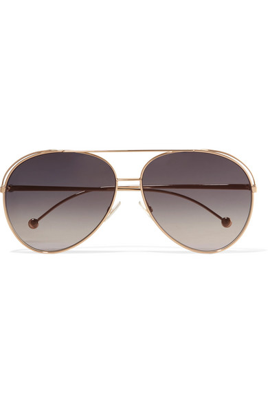 6be4005c4d Fendi. Aviator-style gold-tone sunglasses