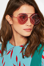Printed round-frame metal sunglasses