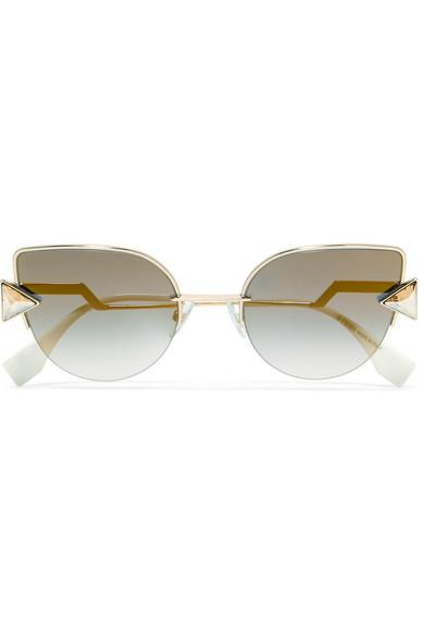Striped Cat-eye Acetate And Gunmetal-tone Sunglasses - Blue Fendi sicCmvG