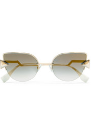 Fendi Embellished cat-eye gold-tone mirrored sunglasses
