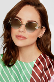 Embellished cat-eye gold-tone mirrored sunglasses