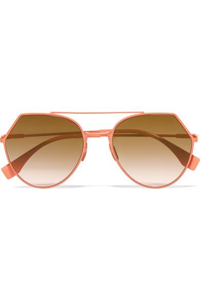 Fendi - Aviator-style Metal Sunglasses - Peach at NET-A-PORTER