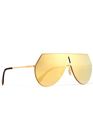 d33534b8c0 Aviator-style gold-tone and acetate mirrored sunglasses