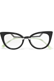 Fendi Cat-eye acetate and silver-tone  optical glasses