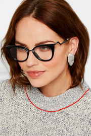 Cat-eye acetate and silver-tone  optical glasses