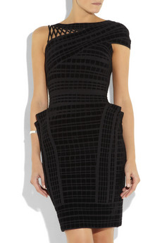 Hervé Léger | Asymmetric velour bandage dress | NET-A-PORTER.COM from net-a-porter.com