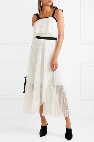 Philosophy di Lorenzo Serafini Gestuftes Kleid aus plissiertem Tüll mit eingewebten Punkten
