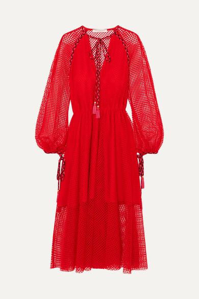 Philosophy di Lorenzo Serafini Kleid aus schnurgebundener Spitze mit Troddeln
