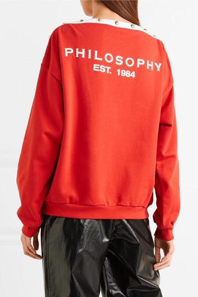 Philosophy di Lorenzo Serafini Bedrucktes Sweatshirt aus Baumwoll-Jersey mit Verzierungen