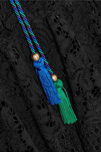Philosophy di Lorenzo Serafini Minikleid aus schnurgebundener Spitze und Guipure-Spitze mit Troddeln