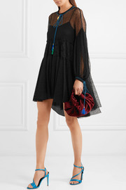 Tassel-trimmed corded and guipure lace mini dress