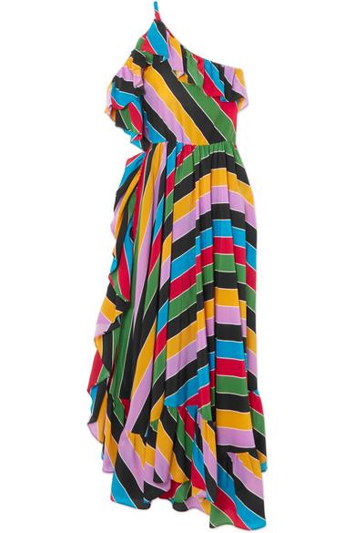 Philosophy di Lorenzo Serafini - One-shoulder Ruffled Striped Silk-satin Dress - Green