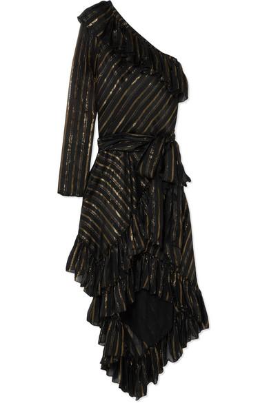 Philosophy di Lorenzo Serafini Kleid aus einer Seidenmischung mit Streifen in Metallic-Optik und asymmetrischer Schulterpartie