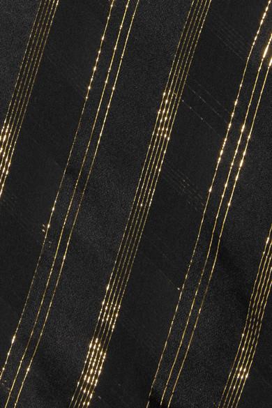 Philosophy di Lorenzo Serafini Top aus einer Seidenmischung mit Streifen in Metallic-Optik und Rüschen